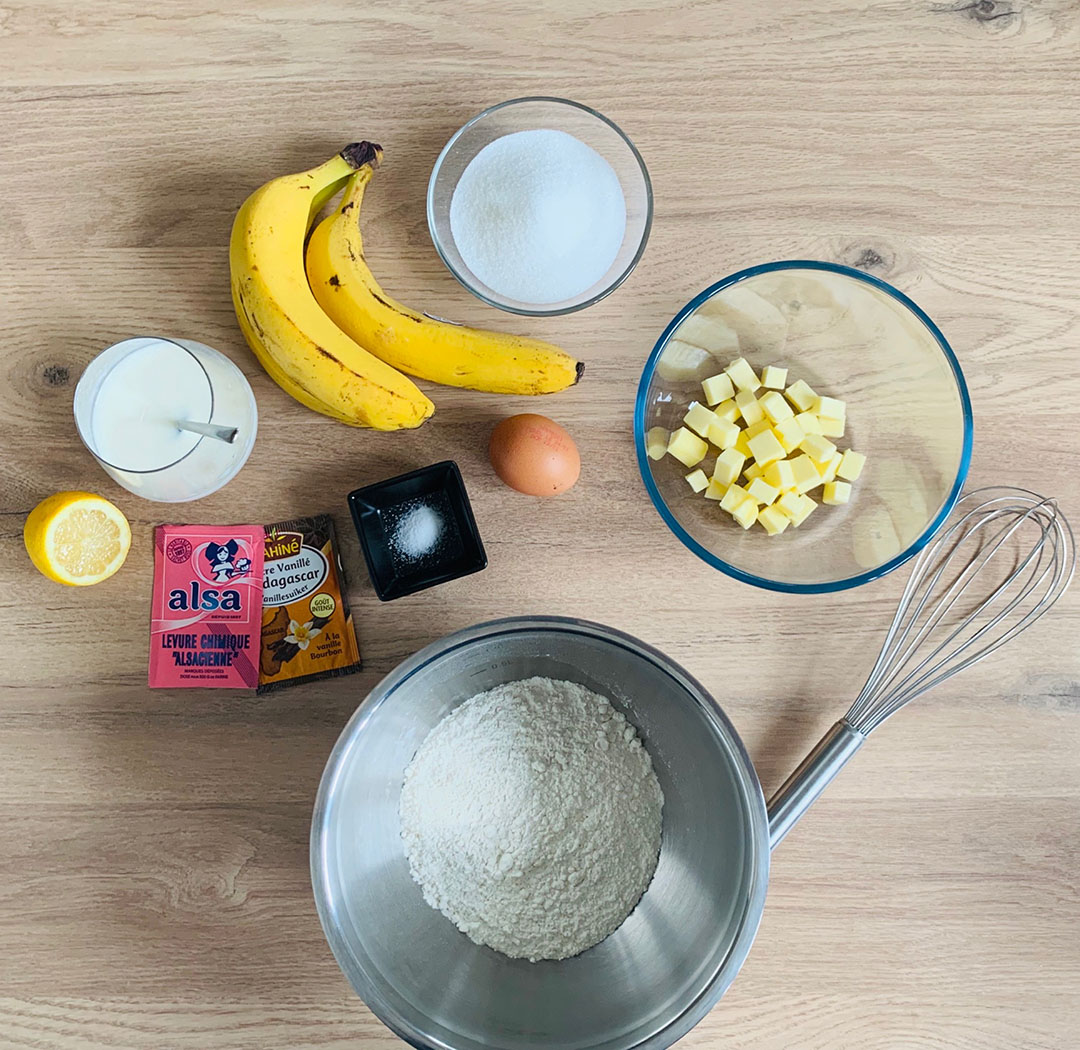 Ingrédients recette du banana bread